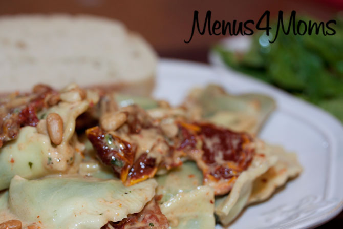 Menus4Moms Spinach Ravioli with Sun-dried Tomatoes